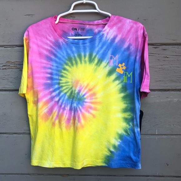 "On Fire Tops - Tie dye autism ""MOM"" t shirt semi crop"